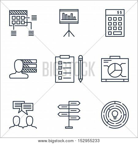 Set Of Project Management Icons On Opportunity, Innovation And Schedule Topics. Editable Vector Illu