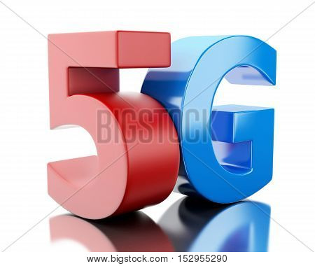 3d renderer image. 5G wireless technology sign. Mobile telecommunication concept. Isolated white background