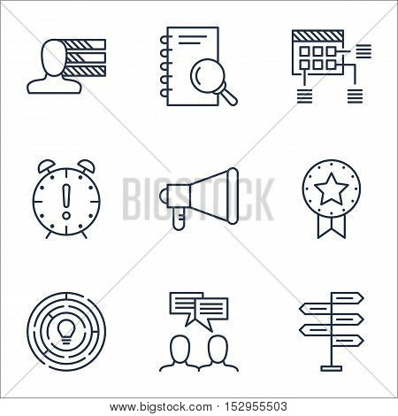 Set Of Project Management Icons On Analysis, Innovation And Time Management Topics. Editable Vector
