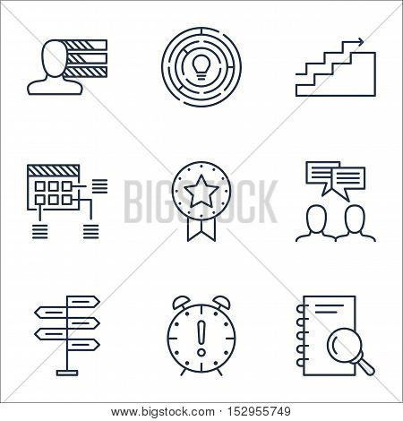 Set Of Project Management Icons On Opportunity, Analysis And Growth Topics. Editable Vector Illustra