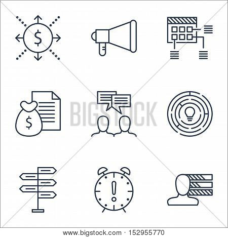Set Of Project Management Icons On Money, Discussion And Schedule Topics. Editable Vector Illustrati