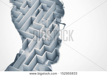 Double Exposure Of Man's Head Silhouette With Maze On White Wall Background With Copy Space For Your