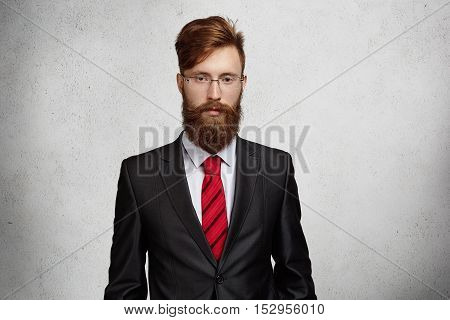 People And Business. Midsection Of Handsome Young Caucasian Businessman With Beard Wearing Rectangle