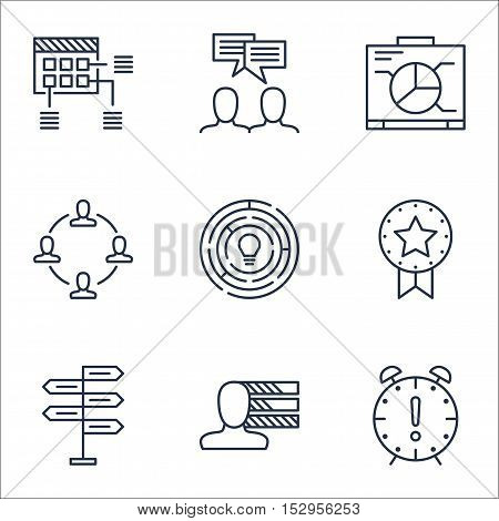 Set Of Project Management Icons On Collaboration, Schedule And Discussion Topics. Editable Vector Il