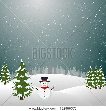 Merry christmas landscape, Snowman In Winter vector