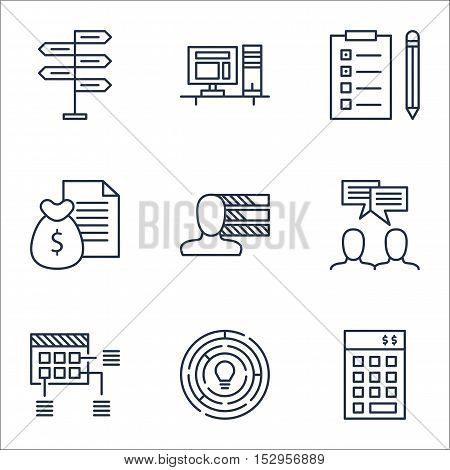 Set Of Project Management Icons On Investment, Schedule And Report Topics. Editable Vector Illustrat