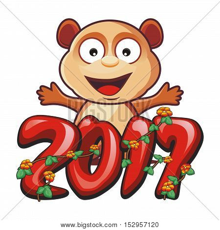 2017 text - number design with cute bear and flower
