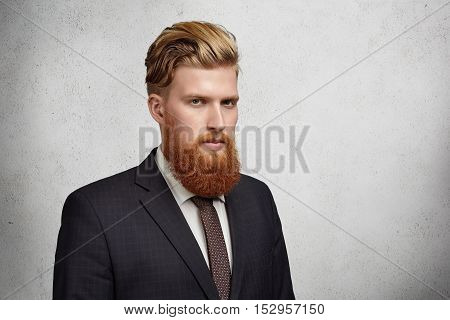 Half-profile Of Handsome Young Bearded Banker In Classic Suit And Tie Looking Serious And Focused St