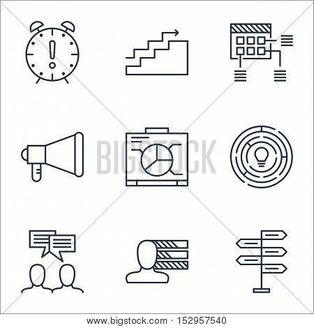 Set Of Project Management Icons On Discussion, Growth And Announcement Topics. Editable Vector Illus