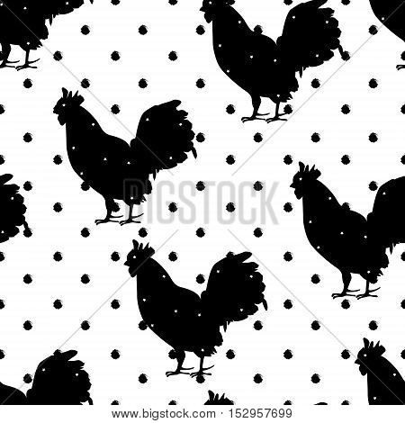 Seamless polka dot pattern with silhouette roster for new year. Vector background.