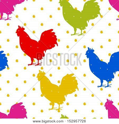 Seamless polka dot pattern with color silhouette rooster. New year. Vector background.
