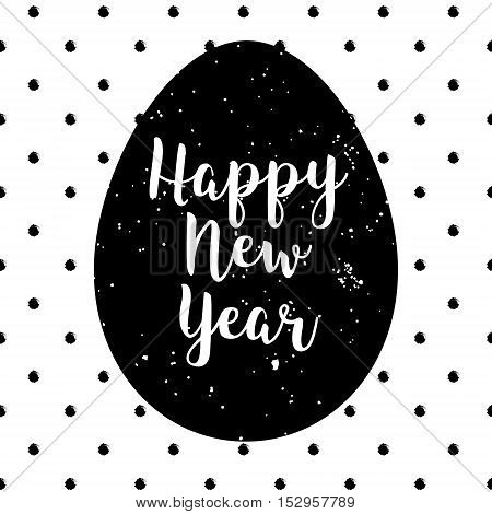 Happy New Year polka dot card with silhouette of egg. Lettering style with calligraphic text.