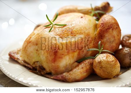 Close up of Whole Roasted Chicken for thanksgiving
