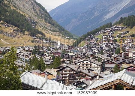 ZERMATT, SWITZERLAND - Sep 12: Zermatt district in Switzerland on Sep 12, 2016. Zermatt is a municipality in Switzerland which this shot can see one of the most famous mountain - The Matterhorn.