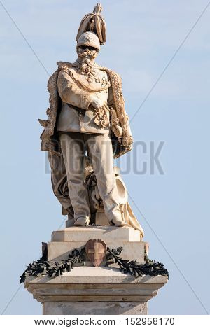 Statue of Victor Emmanuel II built in 1882 by Giovanni Dupre in Trapani Sicily