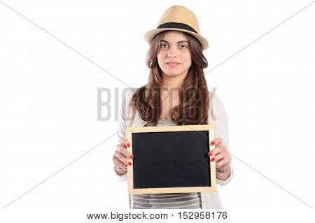 Portrait of latin woman holding chalkboard. Isolated white background.