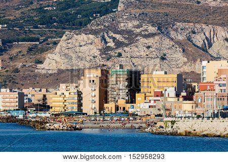TRAPANI ITALY - AUGUST 10 2016: Lido Paradiso is the largest beach in Trapani Sicily located at a short distance from the city's center.