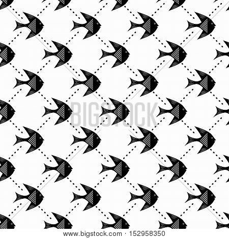 Fish, Seamless monochrome pattern, black and white