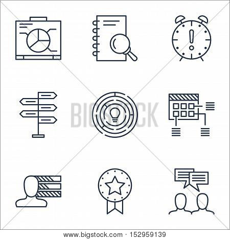 Set Of Project Management Icons On Schedule, Analysis And Board Topics. Editable Vector Illustration