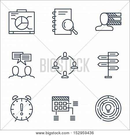 Set Of Project Management Icons On Analysis, Personal Skills And Collaboration Topics. Editable Vect