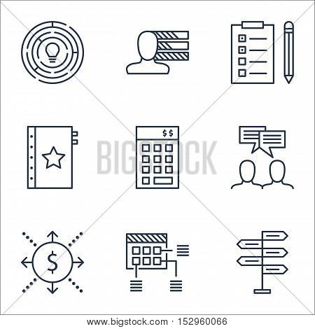 Set Of Project Management Icons On Personal Skills, Reminder And Money Topics. Editable Vector Illus