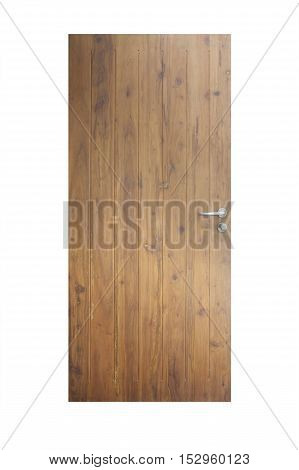 Wooden front door of modern house isolated over white