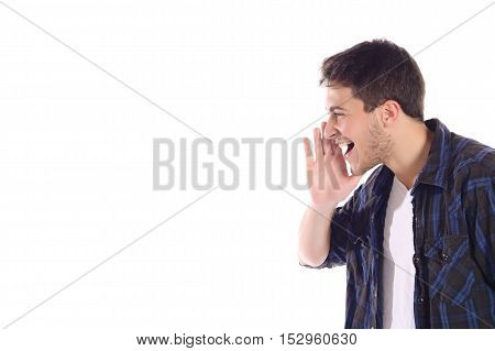 Portrait of a young man shouting. Isolated white background.