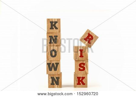 Known Risk word written on cube shape wooden surface isolated on white background.