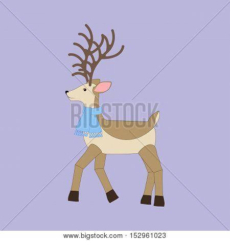 Deer illustration on the purple background. Vector illustration