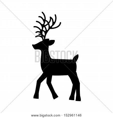 Deer silhouette on the white background. Vector illustration