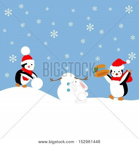 Penguins and rabbit build a snowman. Vector illustration