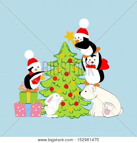 Penguins and polar bear decorate christmas tree. Vector illustration