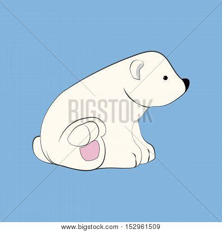Polar bear illustration on the blue background. Vector illustration