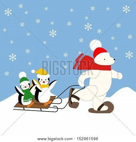 Polar bear and penguins on the sleigh illustration on the blue background. Vector illustration