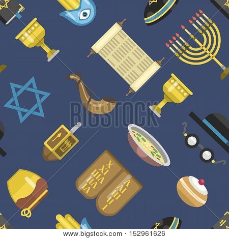 Jewish icons israeli seamless pattern religious symbol jew icons synagogue culture.