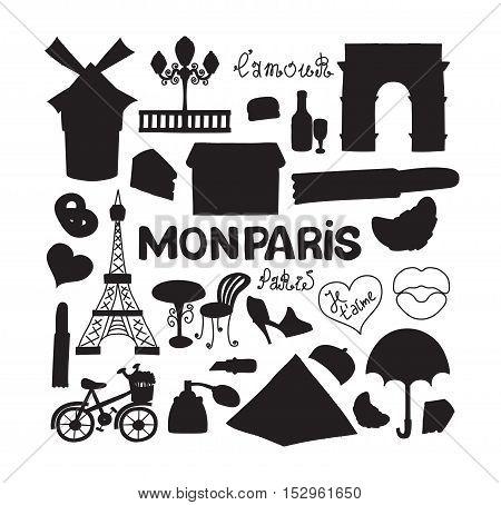 Icons set Paris cuisine and traditional modern culture. Europe Eiffel Paris icons fashion wine building design architecture. Famous travel love Paris icons monument capital landmark.