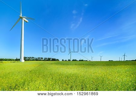 Wind generator in the meadows, on a background of blue sky. An alternative source of electricity. Sunny day.