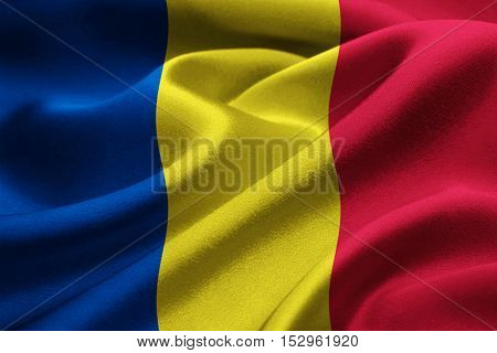 Close up of Romania flag blowing in the wind