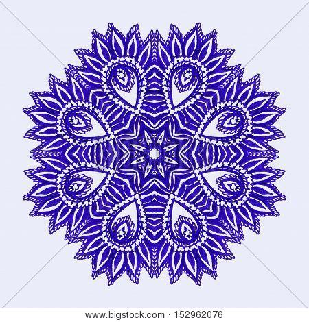 Watercolor Mandala. Hand drawn vector Circle Background. Indian, Islamic, Asian Oriental Motif.