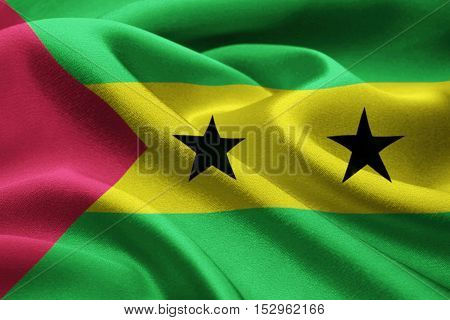 Full frame of Sao Tome E Principe flag blowing in the wind