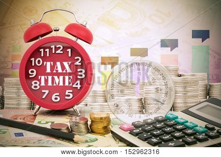Written word Tax Time on a clock with compass coins and Calculator on money banknotes Euro and Dollarsconcept of business planning and finance and savings
