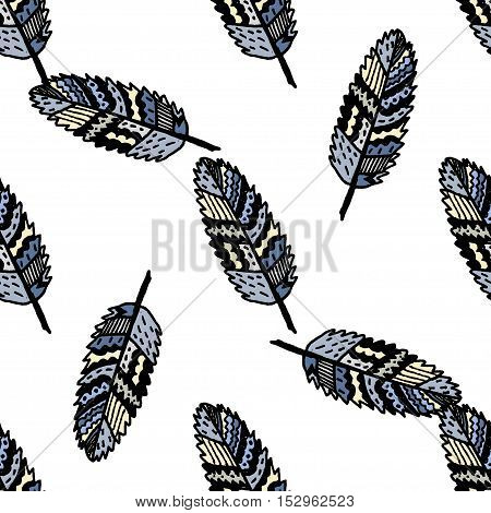 Ethnic boho seamless pattern. Zentangle stylized hand drawn leaves. For fabric, cloth design, wallpaper, wrapping.