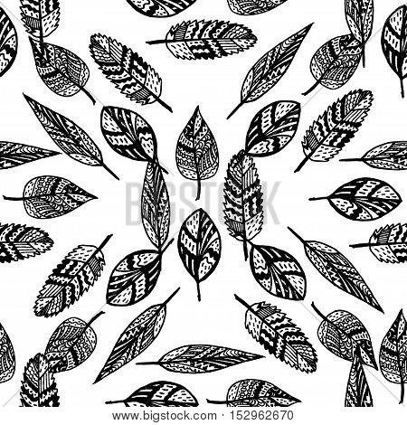 Zentangle hand drawn leaves, seamless pattern. Coloing book template.