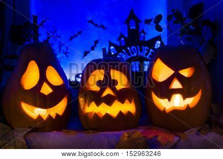 Composition Of Pumpkins For Halloween Holiday