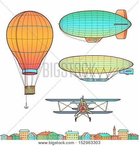Aircraft airplane hot air balloon. Isolated on white.