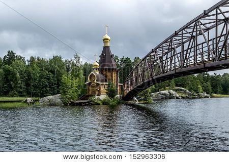 Karelia.Russia.15 Aug 2016 .View of the Church of St. Andrew on the island on the lake Vuoksa in Karelia.