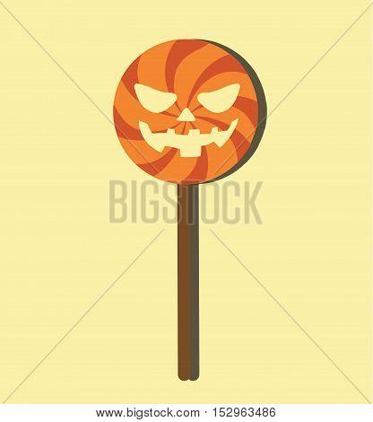 Candy Lollipop With Pumpkin Face Halloween - Sweet Halloween Trick or Treat Flat Card - Flat Design -