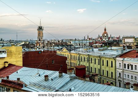 Saint-Petersburg.Russia. 1 july 2016. The view from the height on the building of the Spasskaya Fire station No. 2 and the roof at sunset in St. Petersburg.