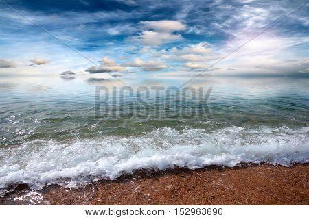 sandy beach of the Mediterranean Sea and the beautiful sky