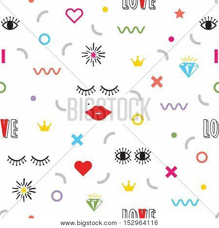 Colorful modern retro feminine fun icons and symbols pattern on white background